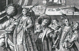 Venetian carnival scene showing revelers in different styles of masks, 1595.