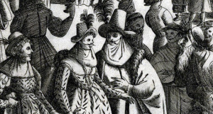 Carnevale revelers wearing early forms of the larva / volto masks with hats and veils, 1610