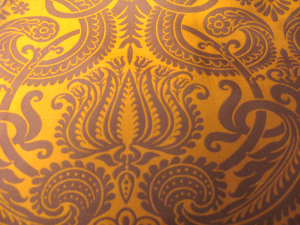 gold & brown silk-blend damask