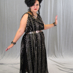 Full view of silver & black overgown & black linen undergown