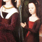 1475, detail of the donor's wife Elizabeth and their oldest child, Anne, from the Donne Triptych by Hans Memling of Seligenstadt/Bruges