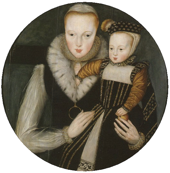 1562 – Lady Katherine Grey and her son, Edward Seymour, Lord Beauchamp of Hache, shows both mother and child wearing white coifs. Image source: Wikimedia Commons.