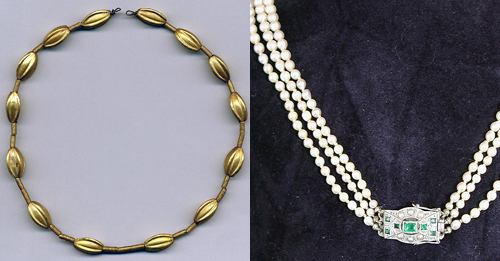 2 necklaces from the British Museum: left, gold beads from Cyprus c. 1550 B.C.E.; right, pearls with diamond clasp, Paris, 1930
